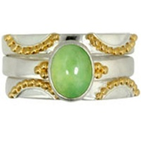 Chrysoprase Stack Ring with Vermail Accents
