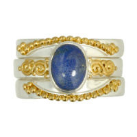 Lapis Stack Ring with Vermeil Beadwork