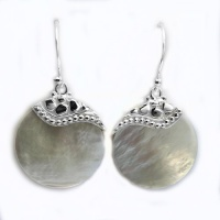 Round Mother of Pearl Shell Dangle Earrings