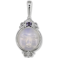 Opalite Goddess Pendant with Iolite