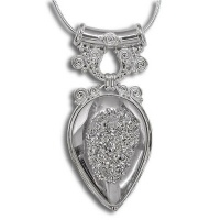 Platinum Window Druzy Pendant with Tube Bale