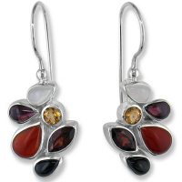 Moonstone, Garnet, Citrine, Black Star & Carnelian Latchback Earrings