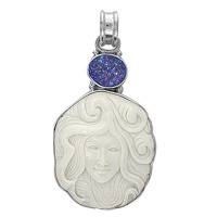 Handcarved Goddess Pendant with Caribbean Druzy