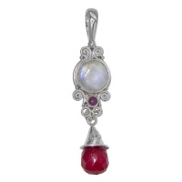 Red Opalite Drop Pendant with Rainbow Moonstone and Ruby