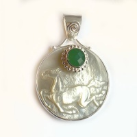 Mother of Pearl Horse Pendant with Chrysoprase