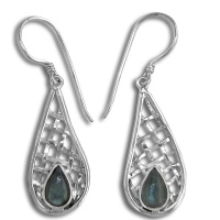 Labradorite Earrings with Woven Sterling Silver