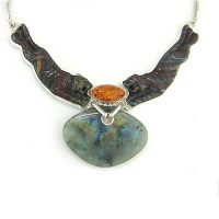 "Labradorite, Tiger Iron Tigers & Amber Necklace 16"" + 2"" extension"