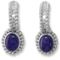 Sterling Silver Post Earrings with Lapis Ovals