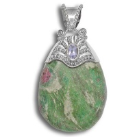 Ruby Fuschite and Iolite Pendant