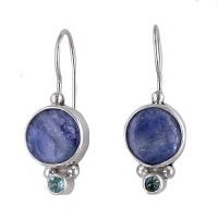 Kyanite and Apatite Latchback Earrings