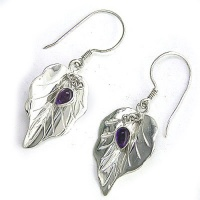 Sterling Silver Leaf Dangle Earrings with Amethyst