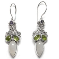 Rainbow Moonstone Earrings with Peridot and Iolite