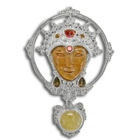 Tiger Eye Goddess Pin-Pendant with Rutilated Quartz, Mango Topaz, Citrine, Garnet and Smoky Topaz