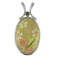 Japanese Painting Reversible Silver Pendant