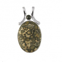 Leopard Skin Jasper and Black Star Diopside Pendant