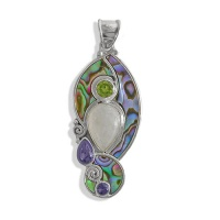Paua Shell, Peridot, Iolite, Rainbow Moonstone and Amethyst Pendant