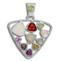 Sterling Silver Hand-Crafted Multi-Stone Abundance Pendant
