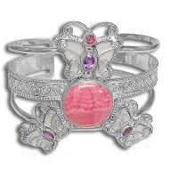White Mother of Pear Butterfly Cuff Bracelet with Pink Tourmaline, Amethyst & Rhodocrosite