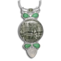 Seraphinite, Peridot, Malachite & Rainbow Moonstone Pendant
