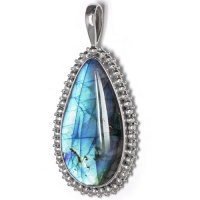 Elongated Labradorite Pendant with Balinese Beading