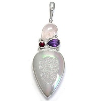 Opalized Window Druzy, Rose Quartz, Amethyst & Pink Tourmaline Pendant
