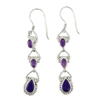 Amethyst and Iolite Dangle Earrings