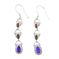 Garnet and Iolite Dangle Earrings