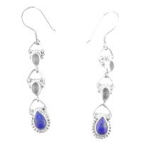 Moonstone and Lapis Dangle Earrings