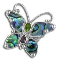Paua Shell Butterfly Pin-Pendant with Peridot and Amethyst