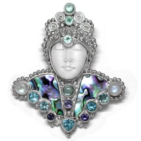 Paua Shell, Blue Topaz, Rainbow Moonstone, Apatite, and Iolite Goddess Pin-Pendant