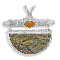 Tiger Iron Dragon Pendant with Amber