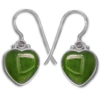 Jade Heart Earrings with Iolite