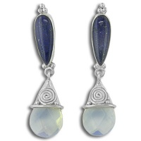 Lapis and Opalite Post Dangle Earrings