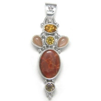 Fire Agate Pendant with Citrine, Peach Moonstone and Smoky Quartz