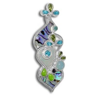 Paua & Mother of Pearl Shell Pin-Pendant with Ocean Blue Chalcedony