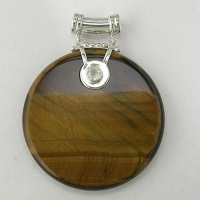 Tiger Iron and Rainbow Moonstone Pendant
