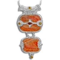 Fire Agate, Garnet and Citrine Pendant