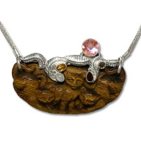 Tiger Eye Cat Necklace with Multi-Gemstones