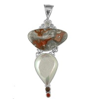 Sterling Multi Stone Mexican Crazy Lace Pendant