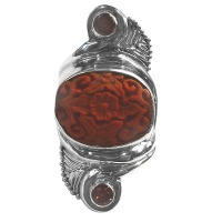 Cinnabar and Garnet Sterling Silver Ring