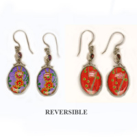 Japanese Painting Reversible Dangle Earrings with Amethyst and Garnet