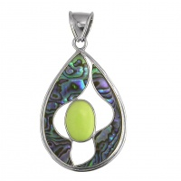 Paua Shell Pendant with Lemon Chrysoprase