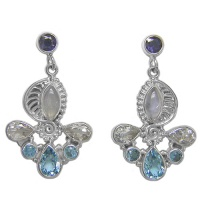 Iolite, Rainbow Moonstone, Blue & White Topaz Earrings