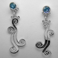 "Sterling Silver Neptune Topaz ""Wave"" Design Earrings"