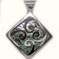 Sterling Silver Swirls Pendant with Paua Shell