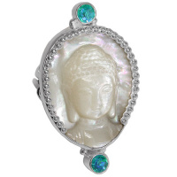 Mother of Pearl Buddha & Rainbow Teal Quartz Ring