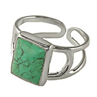 Sterling Silver Genuine Turquoise Rectangle Ring