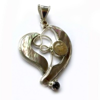 Brown Shell, Golden Hair Rutilated Quartz, Citrine & Smokey Quartz Heart Pendant