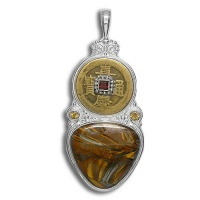 Chinese Coin and Garnet Pendant with Tiger Iron and Citrine