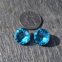 Offerings Sajen Two 16mm Designer Checkerboard Cut Teal Quartz